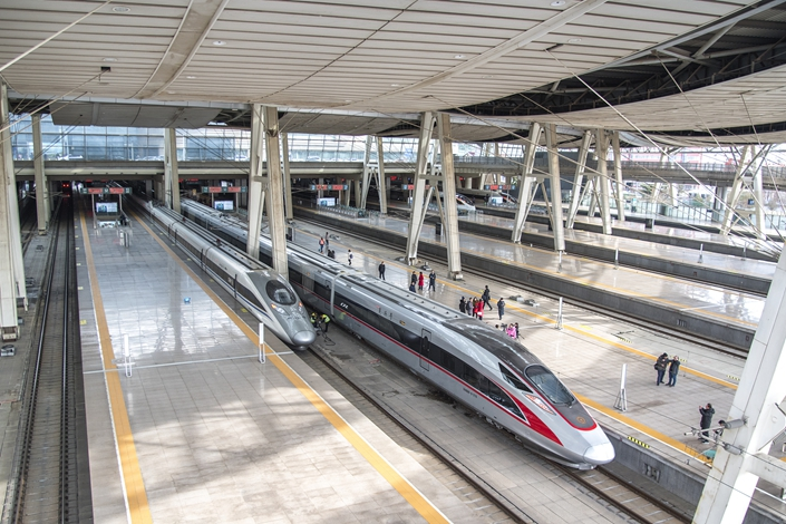 Trains at Beijing South Railway Station on Jan. 5. Photo: VCG