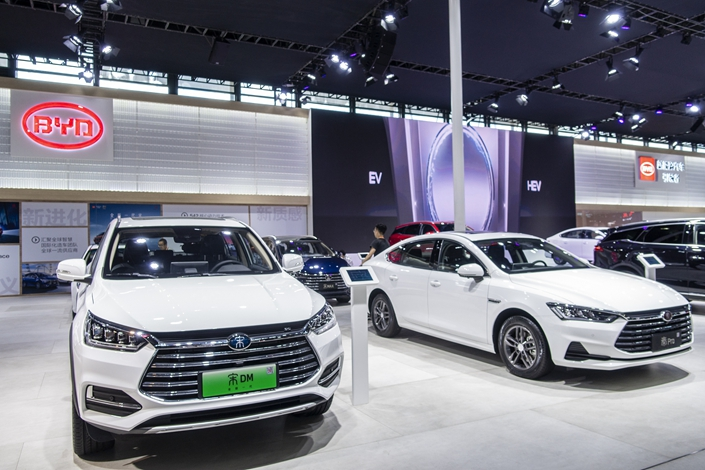 BYD showcases its new-energy vehicle models at an auto show in Shanghai in September 2018. Photo: VCG