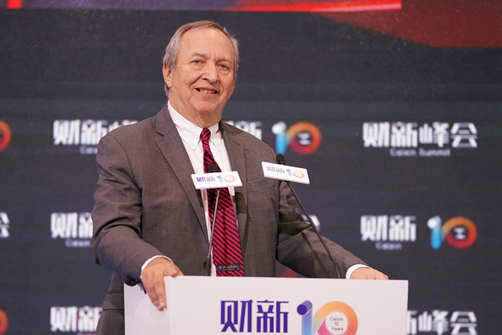 Former U.S. Treasury Secretary Lawrence Summers speaks at the Caixin Summit. Photo: Caixin