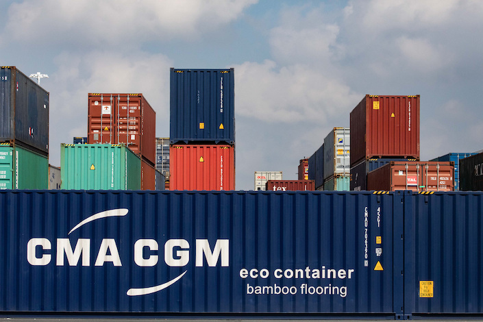 A CMA CGM shipping container with bamboo flooring stands dockside at the Port of Le Havre, France, Sept. 6, 2018. Photo: VCG