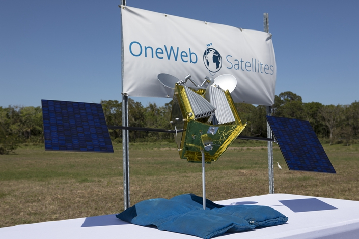 A model of a OneWeb satellite. Photo: IC Photo