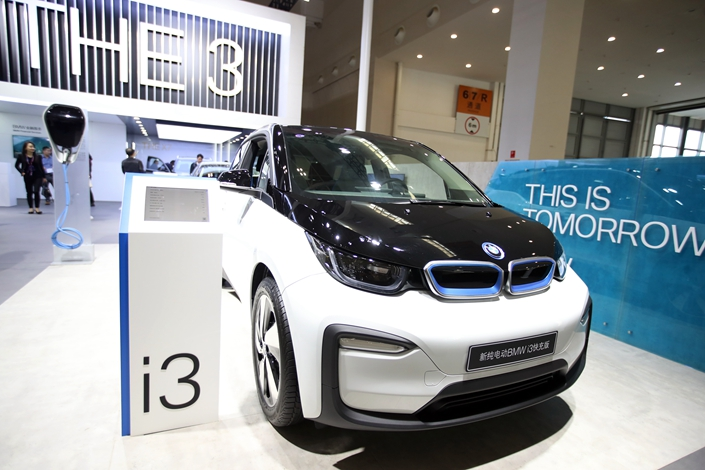 BMW showcases its i3 pure electric model on Oct. 24 at an auto show in Kunming, Southwest China's Yunnan province. Photo: IC Photo