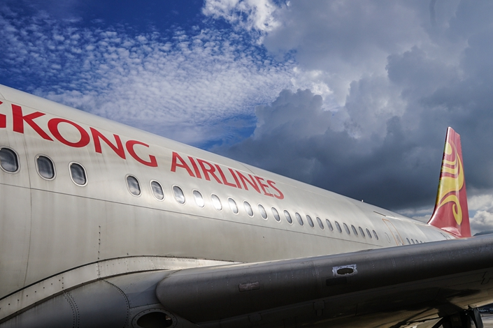 An Hong Kong Airlines jet sits at Hong Kong International Airport in November 2015. Photo: VCG