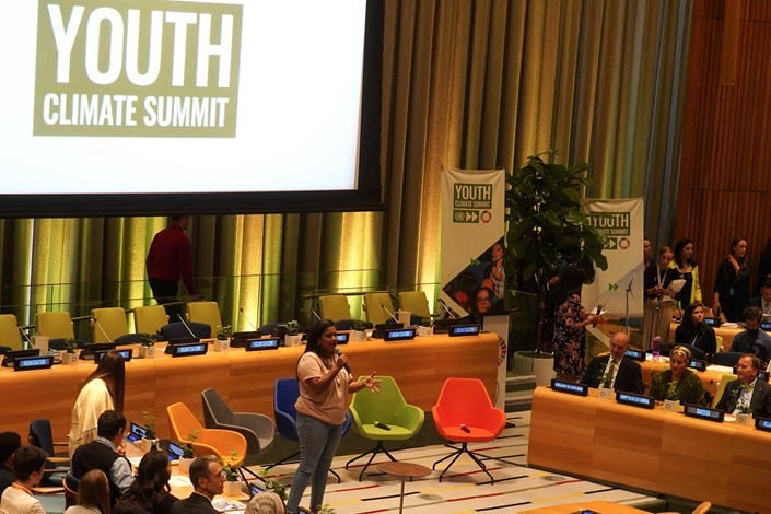 Youth Climate Summit held at U.N. headquarters in New York, Sept. 21. Photo: VCG