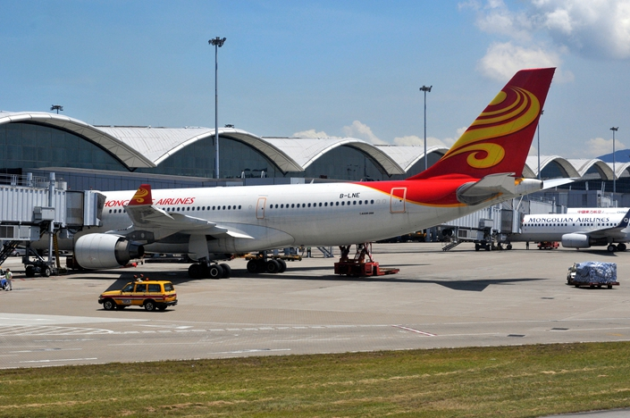 A Hong Kong Airlines plane at the Hong Kong International Airport on Aug. 4. Photo: VCG