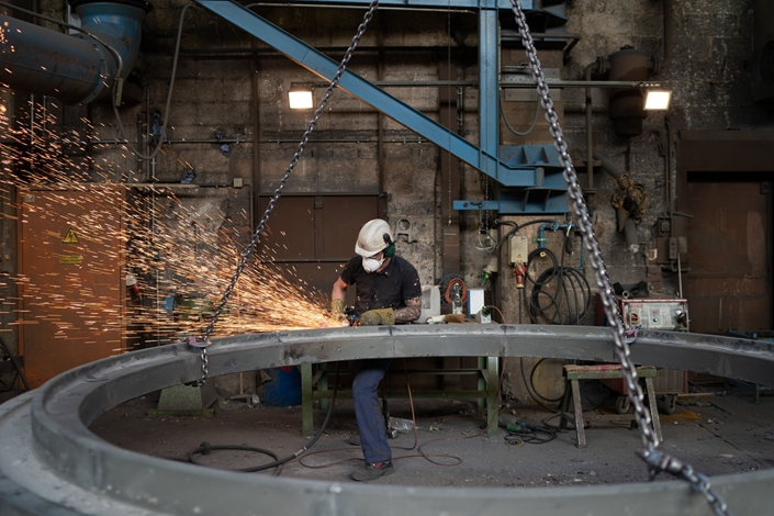 A worker at the Otto Junker steelworks in Simmerath, Germany, on Feb. 19. Photo: Bloomberg