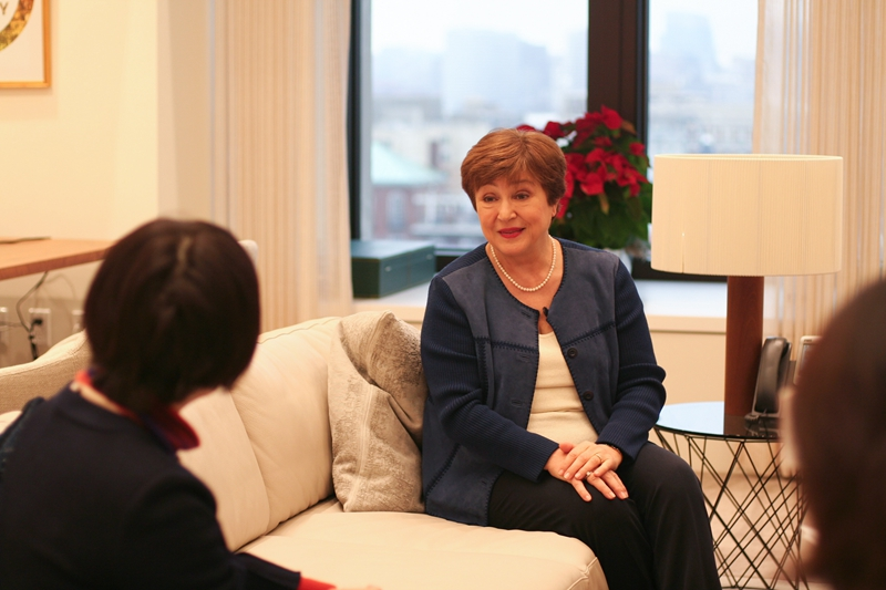 IMF Managing Director Kristalina Georgieva talks with Caixin in an exclusive interview Dec. 16 in Washington. Photo: Caixin