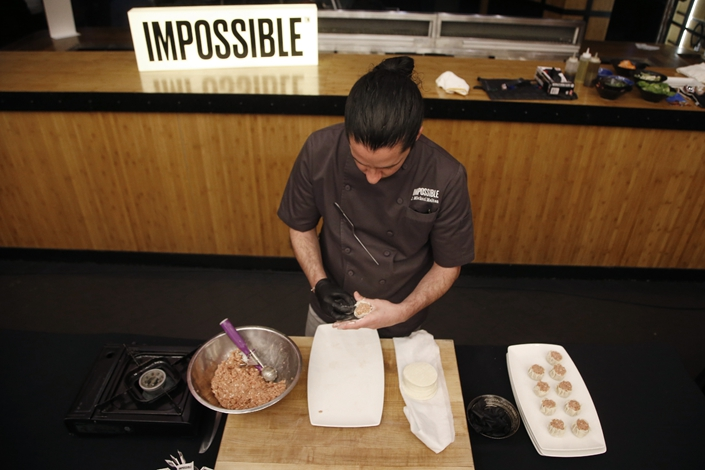 Impossible Food shows off its artificial pork CES in Las Vegas.