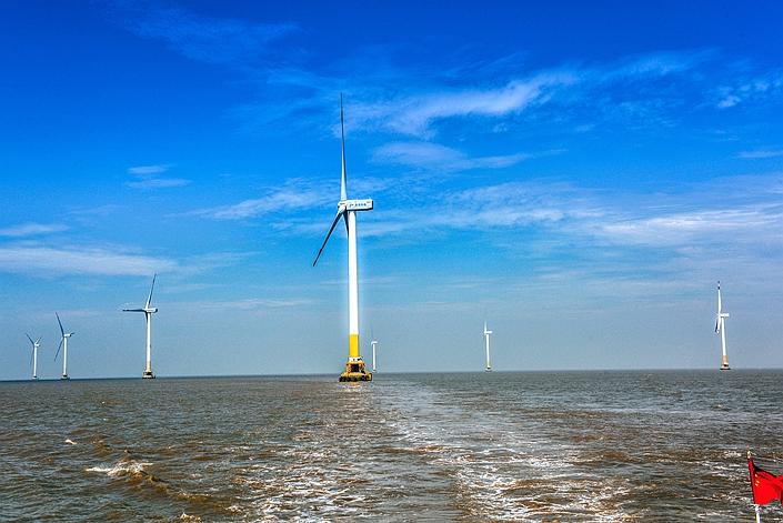 An offshore wind farm near Shanghai's Donghai Bridge, on July 12, 2019.
