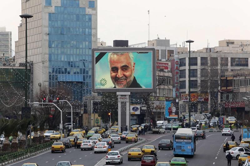 A portrait of Qasem Soleimani on a screen on a street in Tehran Jan. 4.