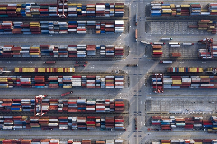 An aerial view of operations at Yangshan Deepwater Port in Shanghai on Aug. 7. Photo: Bloomberg