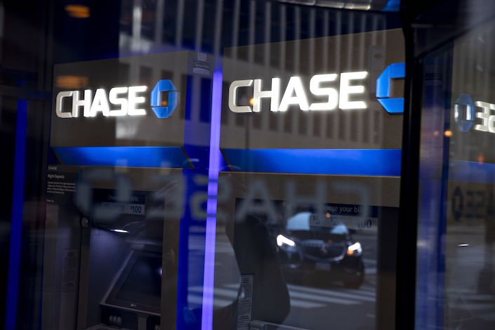 Signage is displayed outside a Chase bank branch in Chicago. Photo: Bloomberg