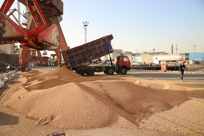 A truck unloads soybeans imported from Brazil at the port of Nantong in east China's Jiangsu province.