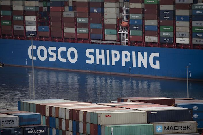 A view of Piraeus port terminals operated by Cosco Shipping Holdings. Photo: Bloomberg