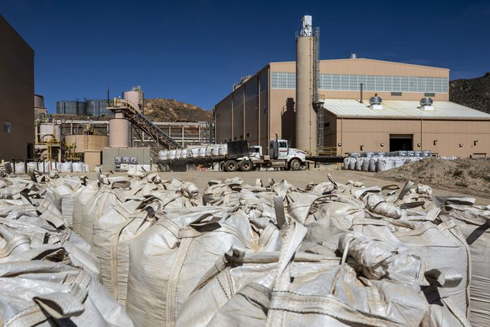 Packaged rare earth concentrate is ready for transport at a processing facility at the Mountain Pass mine,, California, on June 7, 2019. Photo: Bloomberg