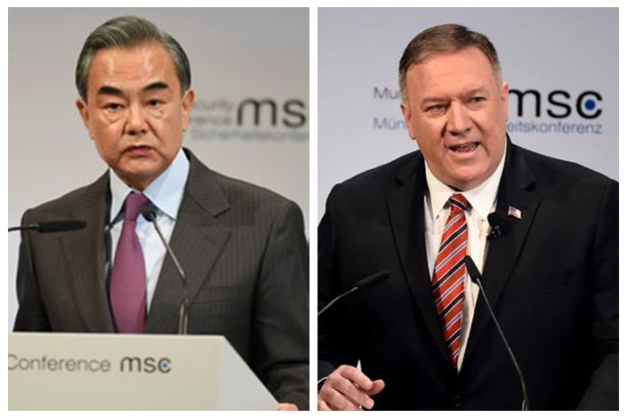 Wang Yi, China's foreign minister (left), U.S. Secretary of State Mike Pompeo