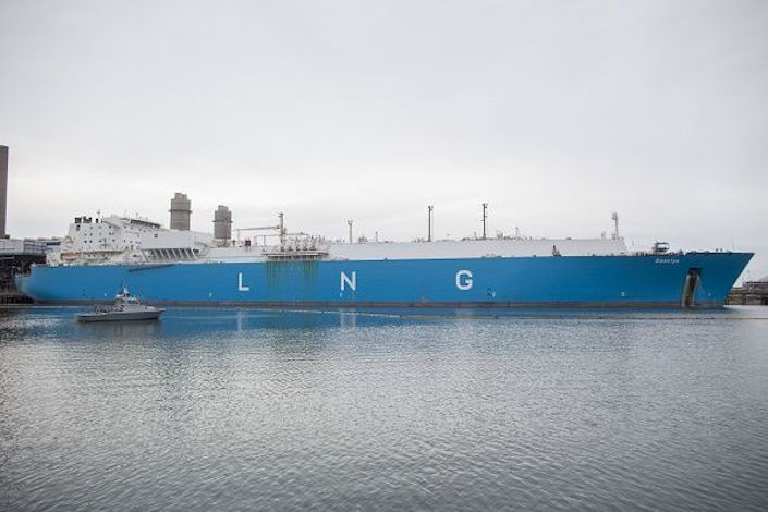 The Gaselys liquefied natural gas (LNG) tanker sits at the Engie SA Everett import terminal in Boston. Photo: Bloomberg