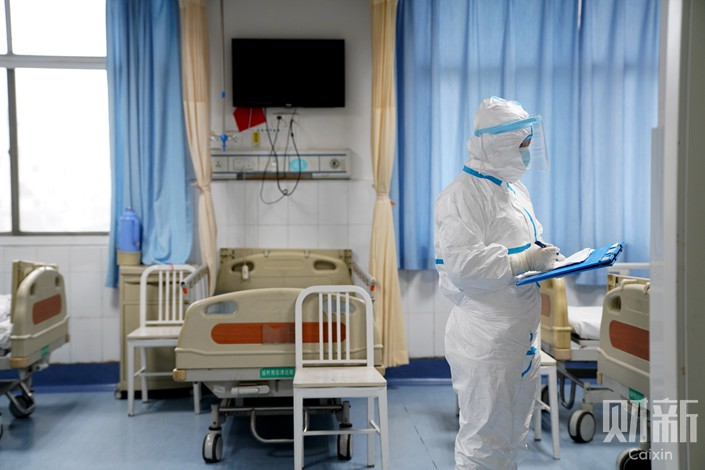 The critical isolation unit of the Red Cross Hospital in Wuhan, Hubei province, Jan. 24. Photo: Ding Gang/Caixin