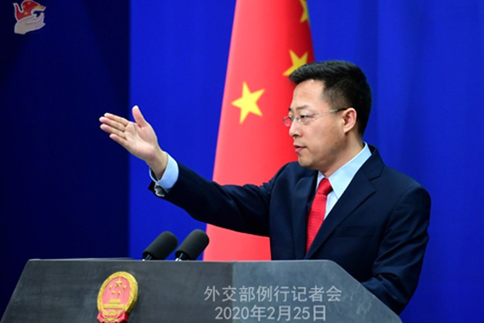 Foreign Ministry spokesperson Zhao Lijian speaking on Feb. 25. Photo: Ministry of Foreign Affairs of the People's Republic of China
