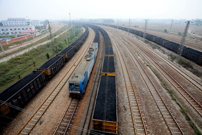 Freight trains haul coal on the Daqin Railway in Qinhuangdao, North China's Hebei province. Photo: IC Photo