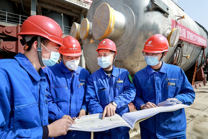 Work resumes at a chemical factory in Tengzhou, Shandong province, on March 11. Photo: IC Photo