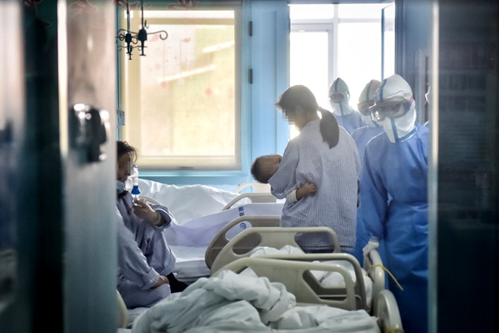 Patients at a ward in Beijing Ditan Hospital on Feb. 3. Photo: Xinhua