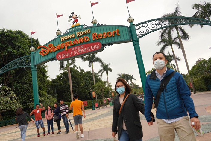 Visitors to Hong Kong Disneyland on March 16. Photo: VCG