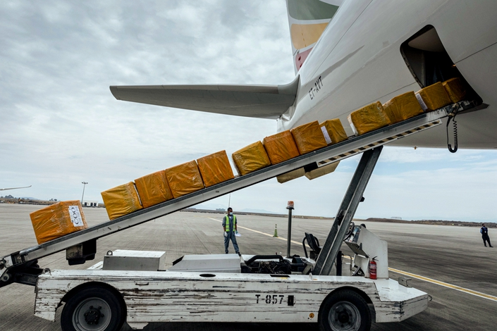 A cargo flight containing over 6 million medical items including face masks, test kits, face shields and protective suits arrives in Ethiopian capital Addis Ababa on March 22.