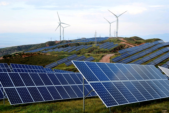 A wind and solar power plant in Zhangjiakou, North China's Hebei province, on July 2, 2019.