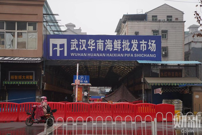 The South China Seafood Market in Wuhan had been shut down by Jan. 22. Photo: Ding Gang/Caixin