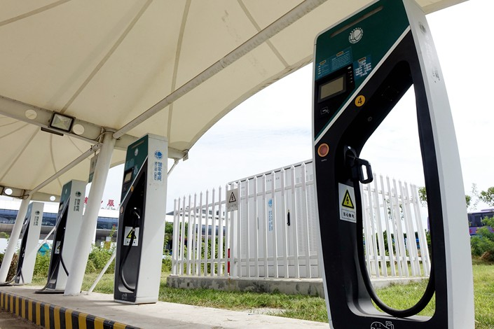 State Grid charging piles at a service station in Henan province on Aug. 29.