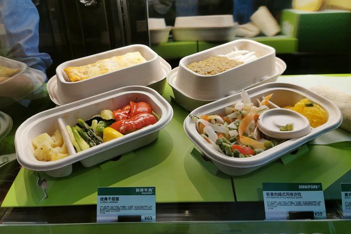 Food products including Beyond Meat's plant-based meat alternatives on sale in a Shanghai Starbucks on April 22.