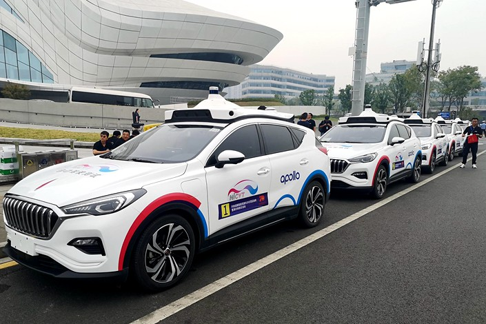 Baidu tests its robo-taxis in Changsha, Hunan province, on Sept. 26.