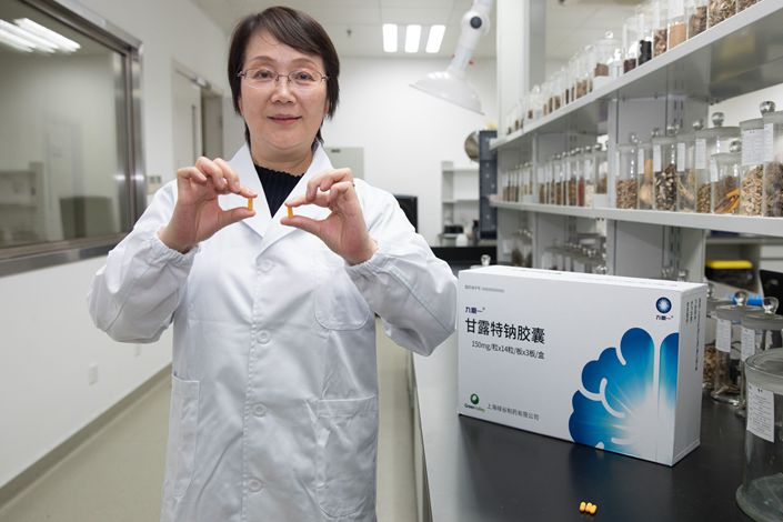 Geng Meiyu, key inventor of the drug GV-971, also a researcher of Shanghai Institute of Materia Medica under Chinese Academy of Sciences, shows the sample model of the new drug in Shanghai on Nov. 3.  Photo: Bloomberg
