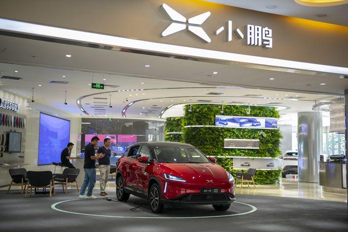 A Xpeng showroom in Zhujiang New Town, Guangzhou, Guangdong province, on July 17.