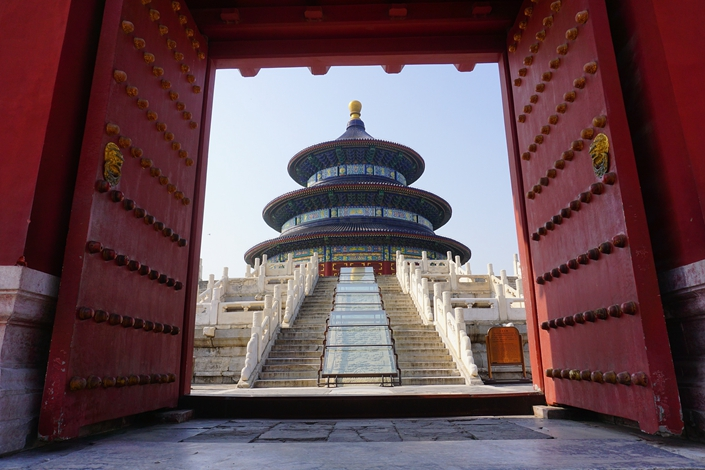 The Temple of Heaven in Beijing, which contains three scenic areas reopened to visitors today, April 29.