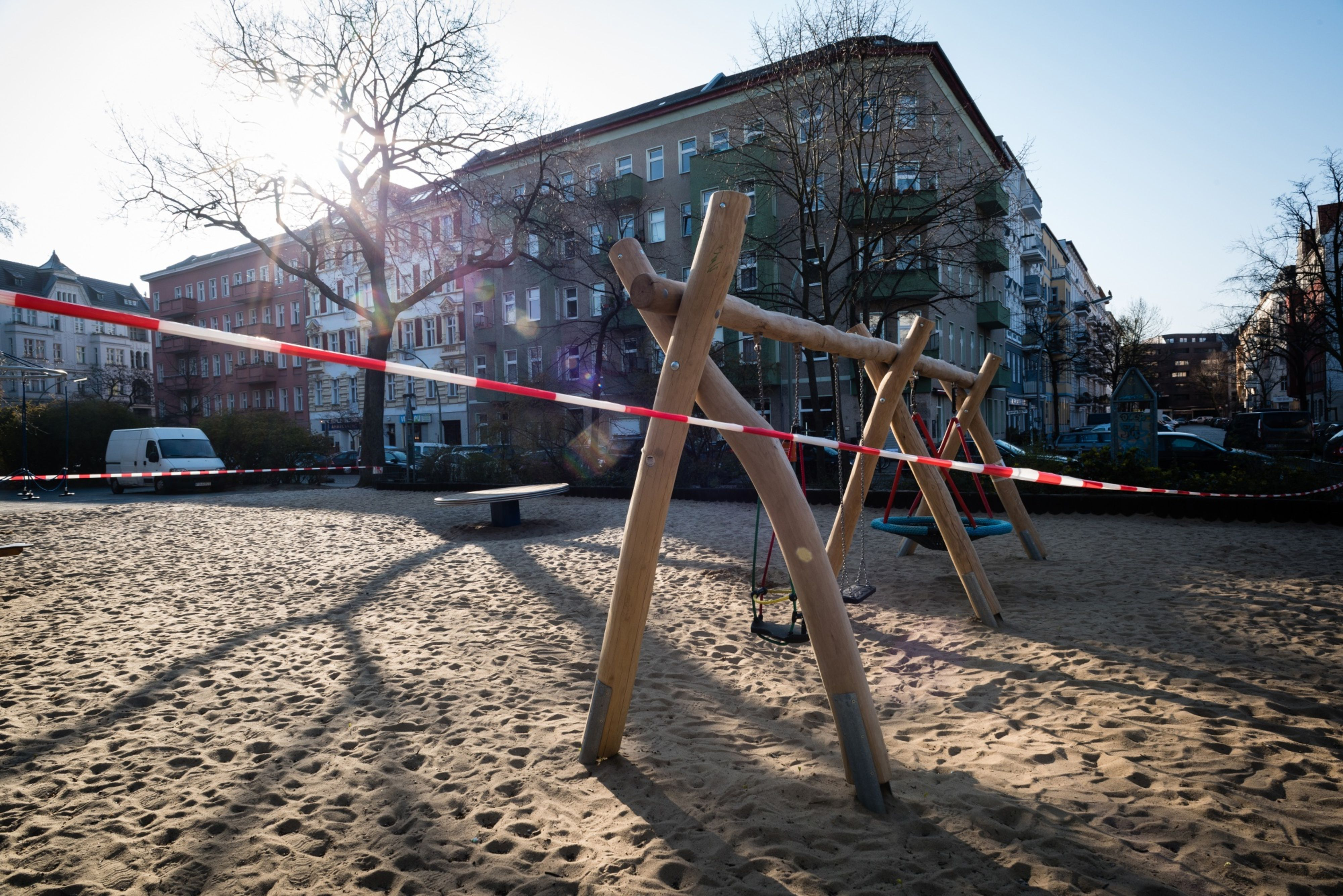 A cordon blocks access to a children's playground in Berlin on March 26. Photo: Bloomberg