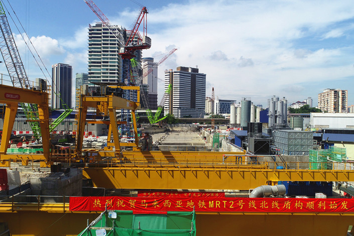 Work begins on a Chinese-built subway line in Kuala Lumpur, Malaysia, on Dec. 17, 2019.