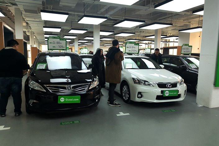 A second-hand car dealership in Beijing, Feb. 23.