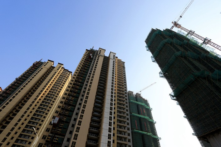 A residential property development under construction in Huaian, East China's Jiangsu province, on April 28.