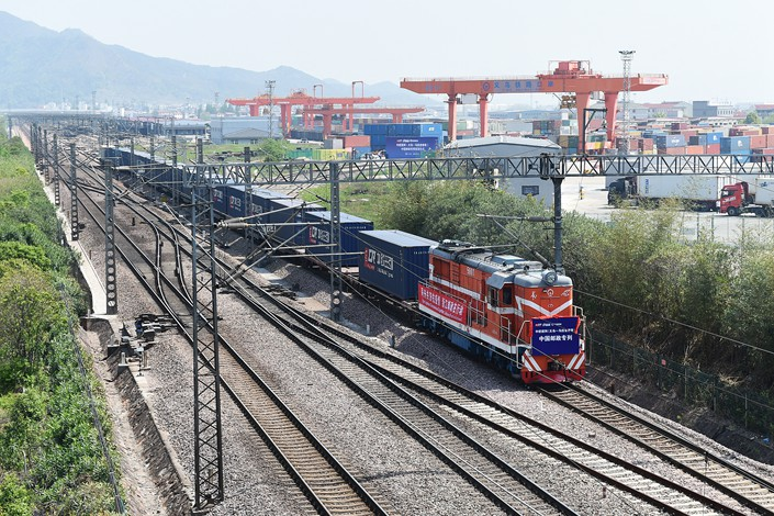 A train leaves Yiwu, Zhejiang province, for Poland on April 10.