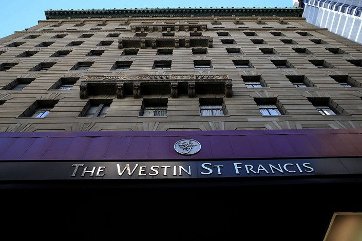 A sign is posted on the exterior the Westin St. Francis hotel on November 16, 2015, in San Francisco, California. Photo: Bloomberg