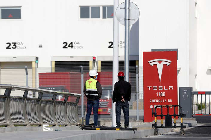 Tesla's Shanghai factory gate, April 28.