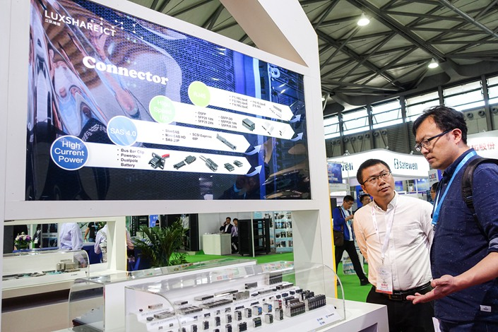 The Luxshare booth at an electronics trade show in Shanghai in May 2018.