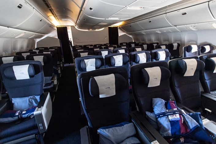 Empty passenger seats sit in the Business Class cabin on board a British Airways flight from London to Hong Kong on May 13. Photo: Bloomberg