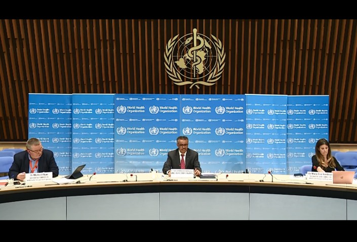 WHO Director-General Tedros Adhanom Ghebreyesus speaks at the 73rd World Health Assembly, held over video conference  Monday from Geneva. Photo: WHO