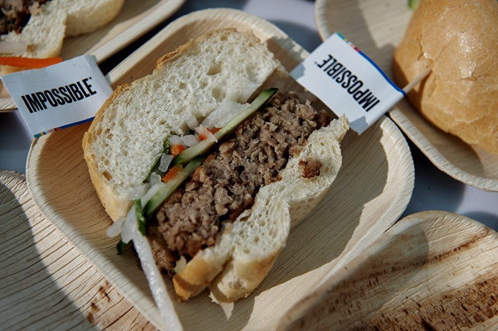 A sandwich made with plant-based pork product is served at the Impossible Foods Inc. booth during CES 2020 in Las Vegas on Jan. 7.