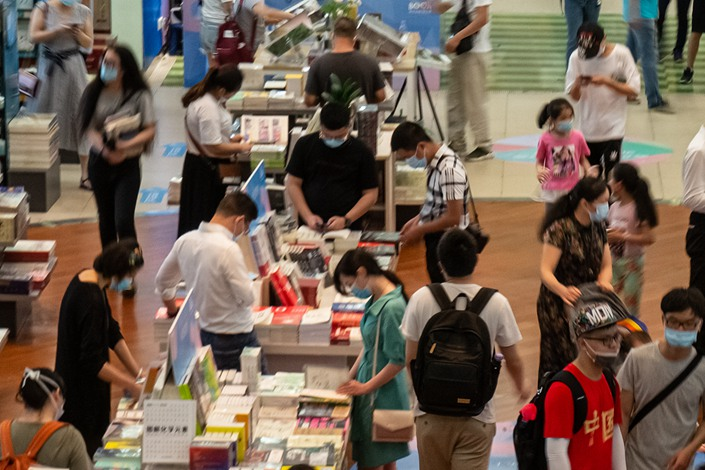 Shoppers browse books in Shenzhen, Guangdong province, on May 4.