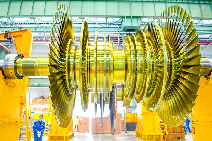 A steam turbine rotor produced by a Shanghai heavy-equipment maker.
