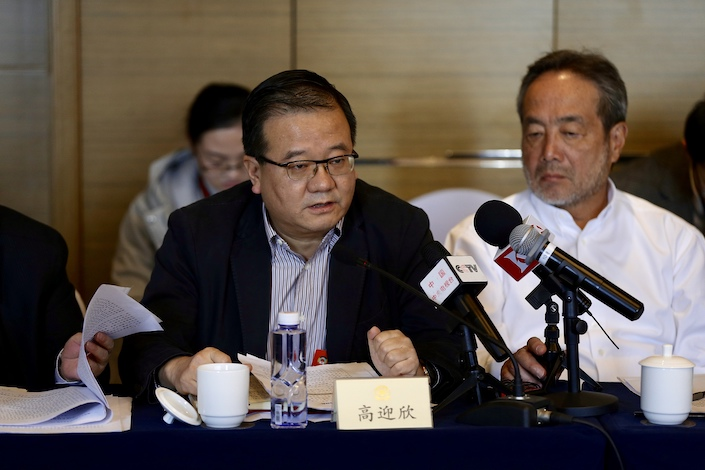 Gao Yingxin, chief executive of Bank of China (Hong Kong) Ltd., at a meeting of the Chinese People's Political Consultative Conference March 4, 2019.